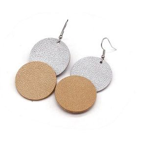 Brand new!!  Leather double circle drop earrings